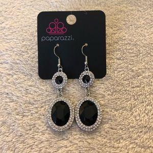 Paparazzi black/white rhinestones dangle earrings